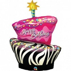 Globo Super Tarta Happy Birthday Funky Zebra