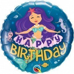 Globo Happy Birthday Sirena encantadora de 45 cm