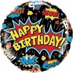 Globo Happy Birthday Comic Super Heroes Negro 45cm