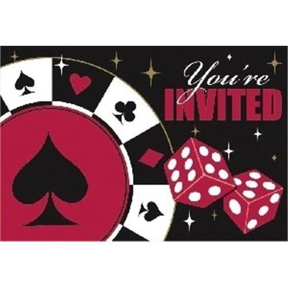 ✅Invitaciones (8) Casino por solo 4,49€ en Masfiesta.es. Venta de Artículos de fiesta y decoración