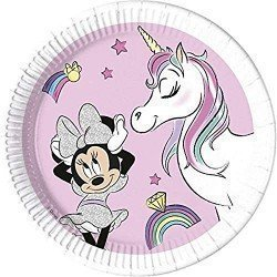 Platos Minnie Unicornio Eco biodegradables de 23cm (8)
