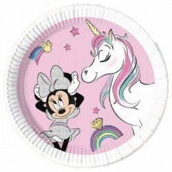 Platos Minnie Unicornio Eco Biodegradables de 20cm (8)