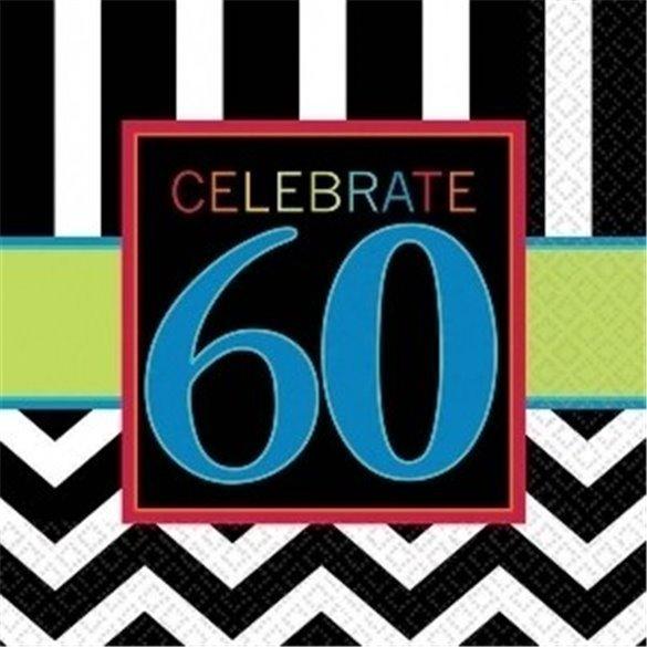 ✅Servilletas (16) 33cm chevron 60 Cumpleaños por solo 2,10€ en Masfiesta.es. Venta de Artículos de fiesta y decoración