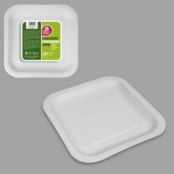 Platos Cuadrados Blancos Nature de cartón Biodegradable Eco-Friendly de 20 cm (10)
