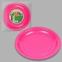 Platos Rosa Fucsia de Cartón Biodegradable Eco-Friendly de 20cm (10)