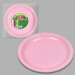Platos Rosa Bebe de Cartón Biodegradable Eco-Friendly de 20cm (10)