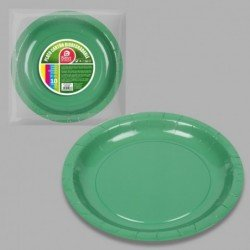 Platos Verdes de Cartón Biodegradable Eco-Friendly de 20cm (10)
