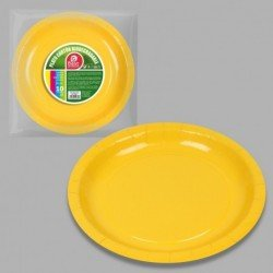 Platos Amarillos de Cartón Biodegradable Eco-Friendly de 20cm (10)