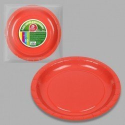 Platos Rojos de Cartón Biodegradable Eco-Friendly de 20cm (10)