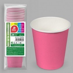 Vasos Rosa Fucsia de Cartón Biodegradable Eco-Friendly de 200ml (24)