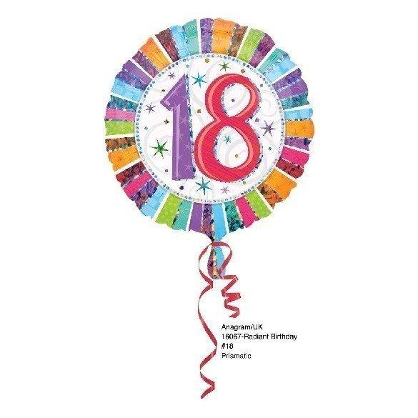 Globo Foil Feliz 18 Cumpleaños Radiante (Empaquetado).