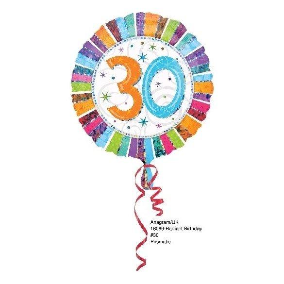 ✅Globo Foil Feliz 30 Cumpleaños Radiante (Empaquetado) por solo 2,25€ en Masfiesta.es. Venta de Artículos de fiesta y decora...