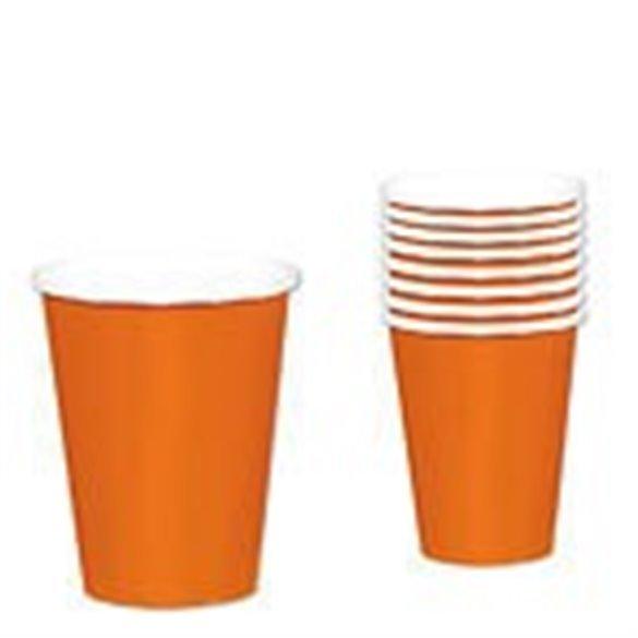 Vasos Color Naranja de Cartón de 266 ml (8)