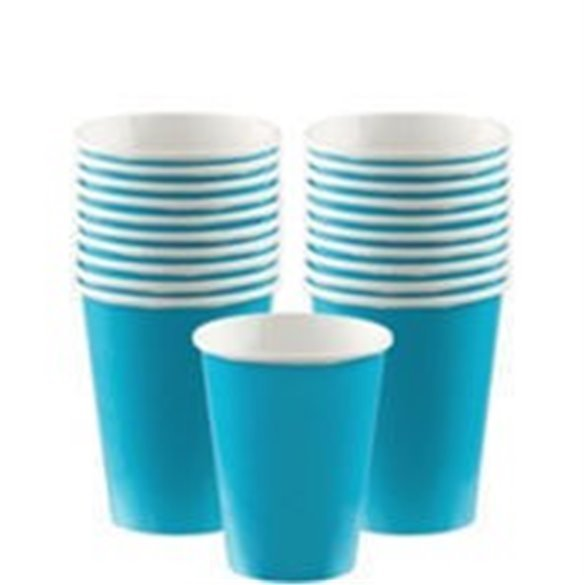 Vasos Color Azul Caribe de Cartón de 266 ml (8)