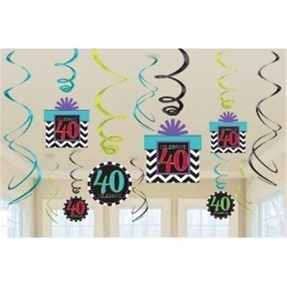 ✅Decoracion Colgante (6x2) Chevron 40 Cumpleaños por solo 4,99€ en Masfiesta.es. Venta de Artículos de fiesta y decoración