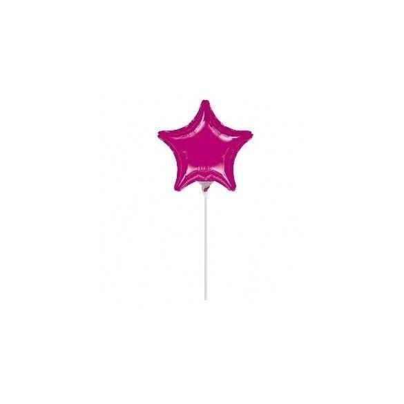 ✅Globo con palo de 10 cm aprox Forma ESTRELLA FUCHSIA por solo 1,21€ en Masfiesta.es. Venta de Artículos de fiesta y decora...
