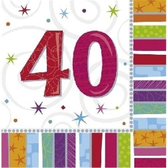 Servilletas (16) 33 cm 40 Cumpleaños Radiante