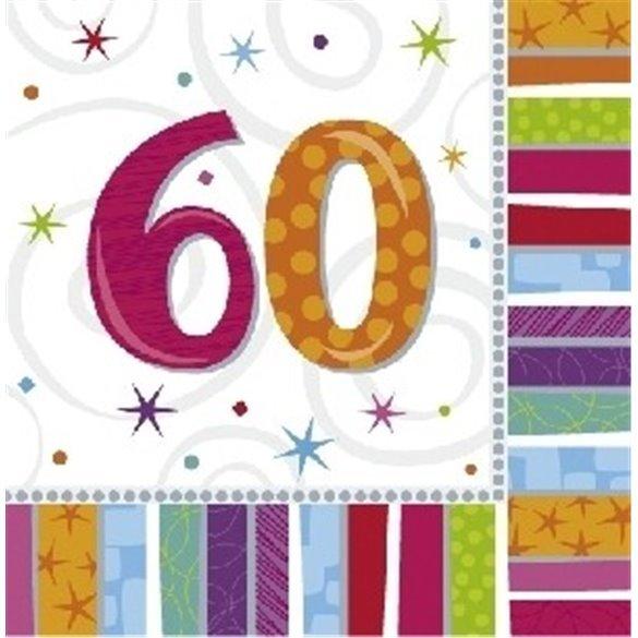 ✅Servilletas (16) 33 cm 60 Cumpleaños Radiante. por solo 2,80€ en Masfiesta.es. Venta de Artículos de fiesta y decoración