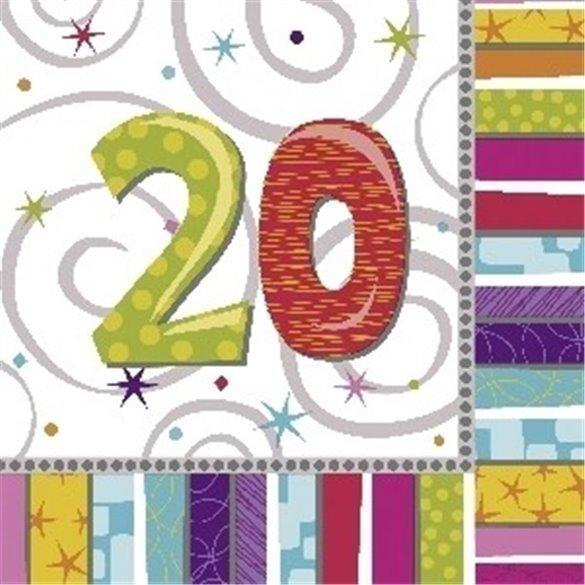 ✅Servilletas (16) 33 cm 20 Cumpleaños Radiante. por solo 2,52€ en Masfiesta.es. Venta de Artículos de fiesta y decoración