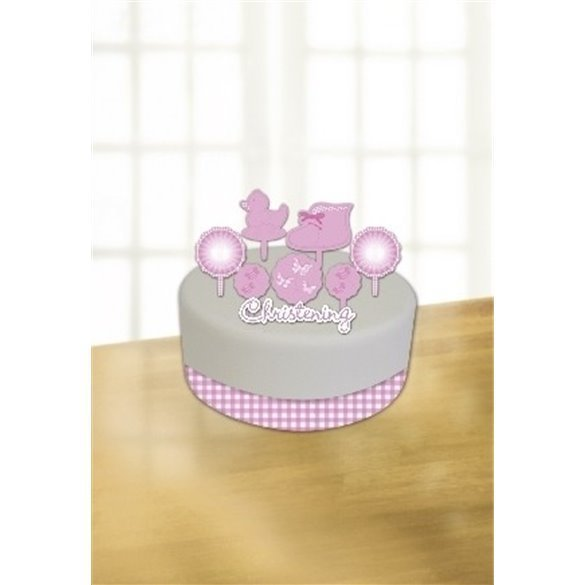 Pink (3)Booties Cake Decorating K Incl. Ribbon, Candle andCard Decoration