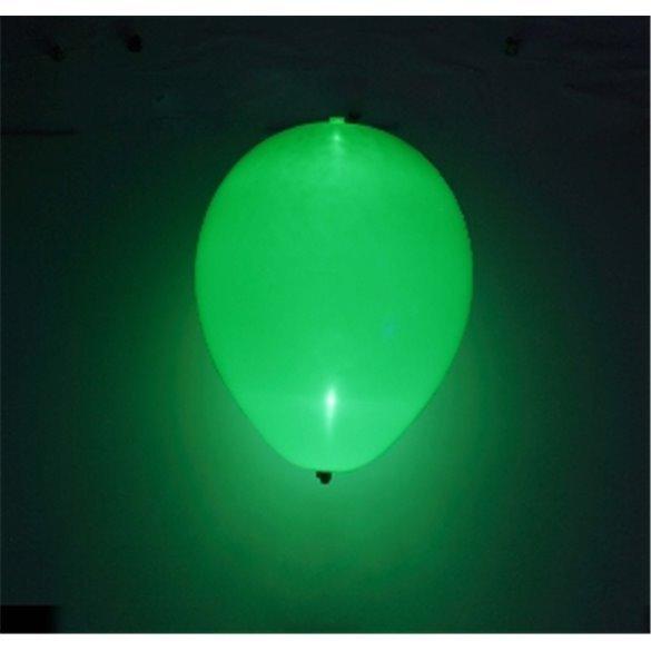 Globos de látex con Luz Led Color Verde Solido de aprox. 25cm. (5 ud)
