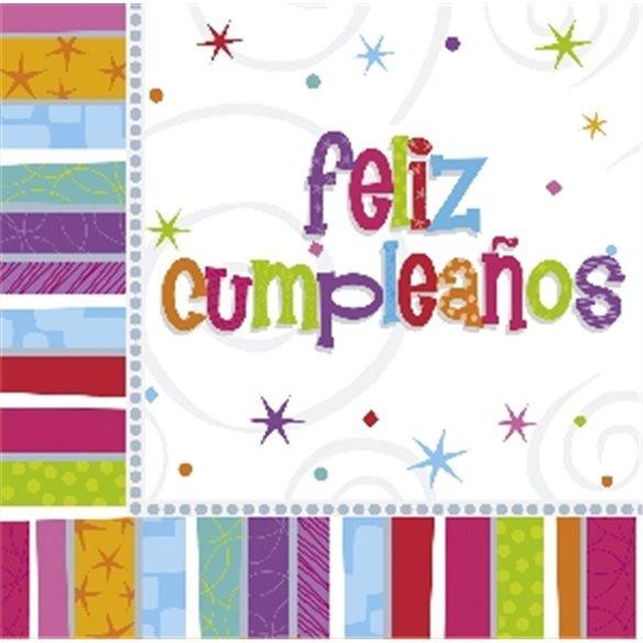 ✅Servilletas (16) 33 cm Feliz Cumpleaños Radiante por solo 2,65€ en Masfiesta.es. Venta de Artículos de fiesta y decoración
