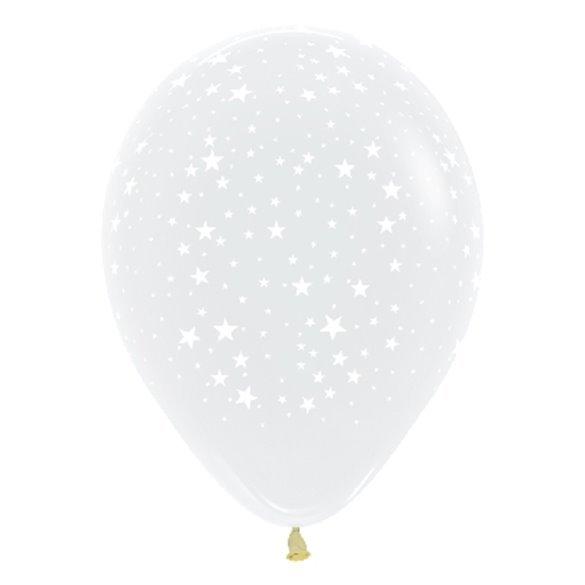 Globos Serigrafiado Estrellas De 30 cm aprox Color Transparente Efecto Cristal /12 ud/