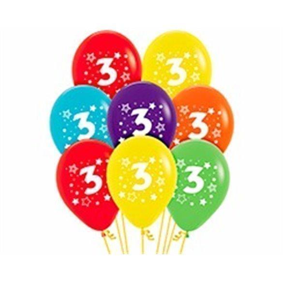 ✅Globos Serigrafiado  Número 3 De 30 cm aprox Colores Surtidos Solidos /12 ud/ por solo 2,70€ en Masfiesta.es. Venta de Artí...
