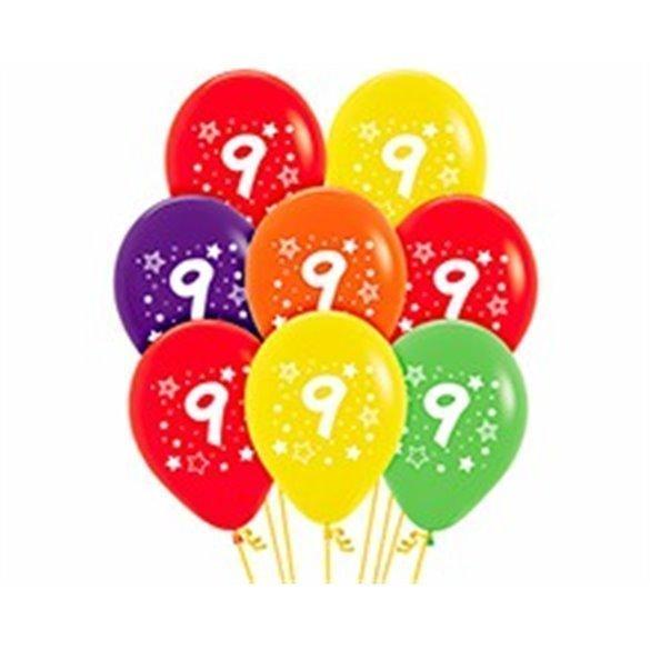 ✅Globos Serigrafiado  Número 9 De 30 cm aprox Colores Surtidos Solidos /10 ud/ por solo 2,85€ en Masfiesta.es. Venta de Artí...