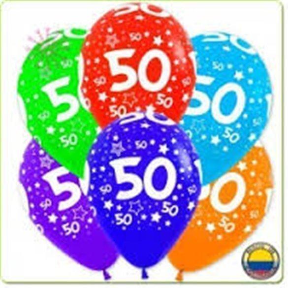 ✅Globos Serigrafiado  Número 50 De 30 cm aprox Colores Surtidos Solidos /10 ud/ por solo 3,28€ en Masfiesta.es. Venta de Art...