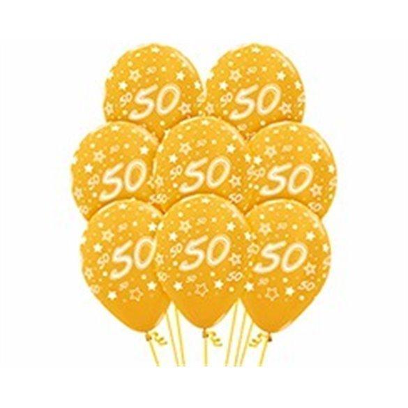 ✅Globos Serigrafiado  Número 50 De 30 cm aprox Color Dorado Efecto Metalizado /12 ud/ por solo 3,28€ en Masfiesta.es. Venta ...