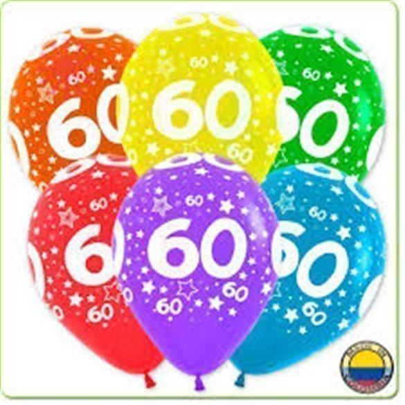 Globos Serigrafiado  Número 60 De 30 cm aprox Colores Surtidos Solidos /10 ud/