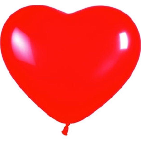 Globos de látex con forma de corazón Color Rojo Solido de aprox. 40cm. (50 ud)