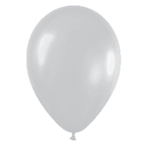 Globos (R-5) de 13 cm aprox Color Plata Satinado (100 ud)
