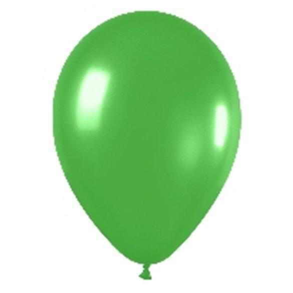 Globos (R-5) de 13 cm aprox Color Verde lima Efecto Metalico-Cristal (100 ud)
