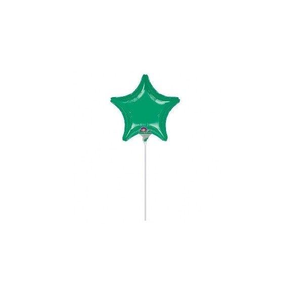 ✅Globo con palo de 10 cm aprox Forma ESTRELLA VERDE por solo 1,35€ en Masfiesta.es. Venta de Artículos de fiesta y decoración