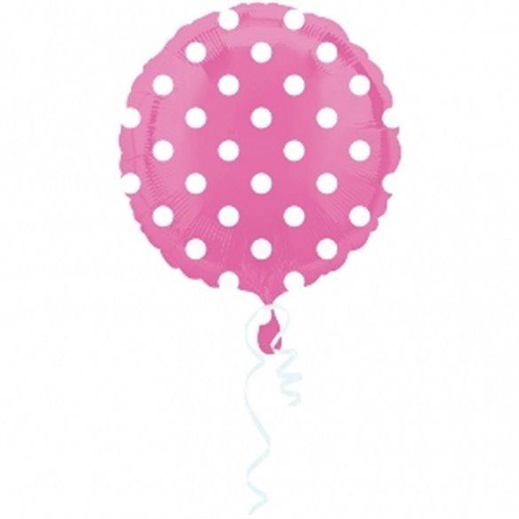 ✅Globo foil Circulo Rosa Puntos Blancos 45 cm por solo 2,21€ en Masfiesta.es. Venta de Artículos de fiesta y decoración