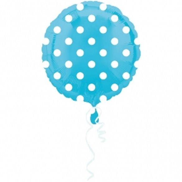 Globo foil Circulo Azul Puntos Blancos 45 cm