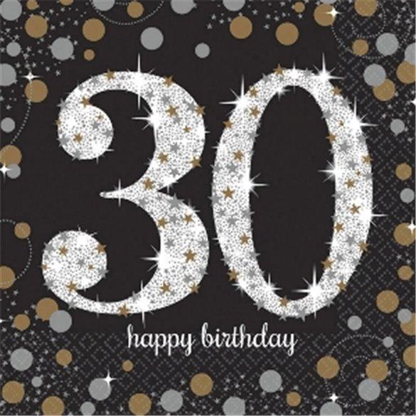 ✅Servilleta Happy 30 Birthday (16) Prismatic Plata/oro (23 cm) por solo 2,38€ en Masfiesta.es. Venta de Artículos de fiesta ...