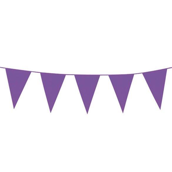 ✅Banderín Triangulo Plástico Color Morado (5mts) por solo 1,76€ en Masfiesta.es. Venta de Artículos de fiesta y decoración
