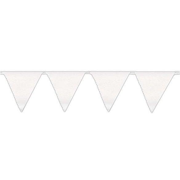 Banderín Triangulo Plástico Color Blanco (5Mts)