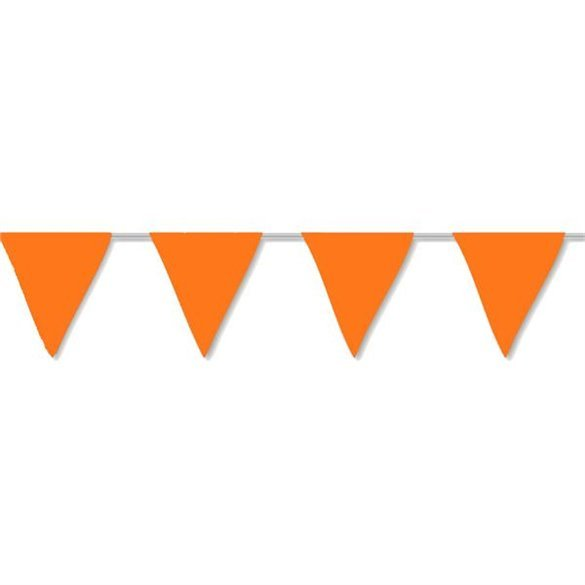 Banderín Triangulo Plástico Color Naranja (5Mts)