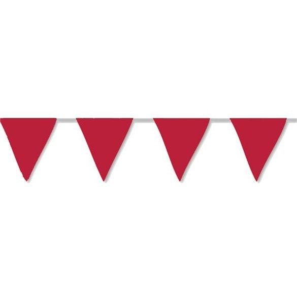 ✅Banderín Triangulo Plástico Color Rojo (5Mts) por solo 1,76€ en Masfiesta.es. Venta de Artículos de fiesta y decoración