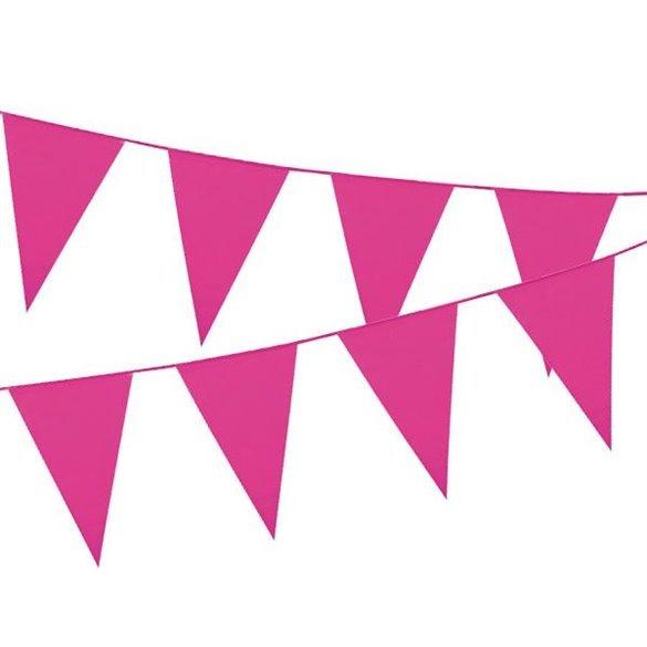 ✅Banderín Triangulo Plástico Color Rosa (5Mts) por solo 1,76€ en Masfiesta.es. Venta de Artículos de fiesta y decoración