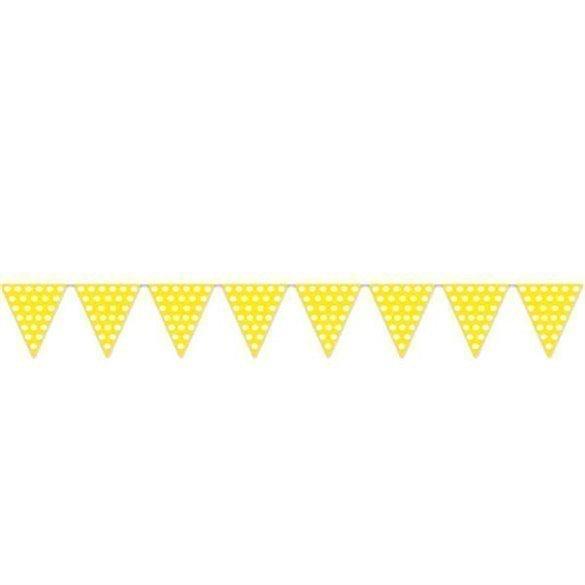 Banderín Triangulo Plástico Color Amarillo Lunar Blanco (5 Mts)
