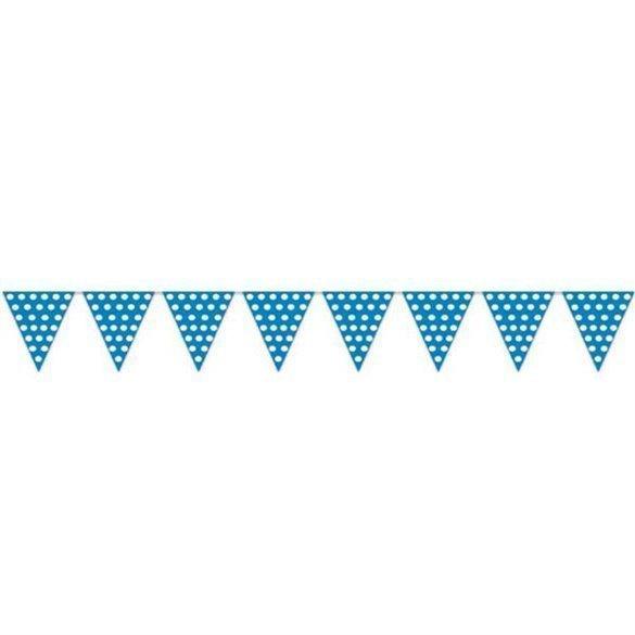 Banderín Triangulo Plástico Color Azul Lunar Blanco (5 Mts)