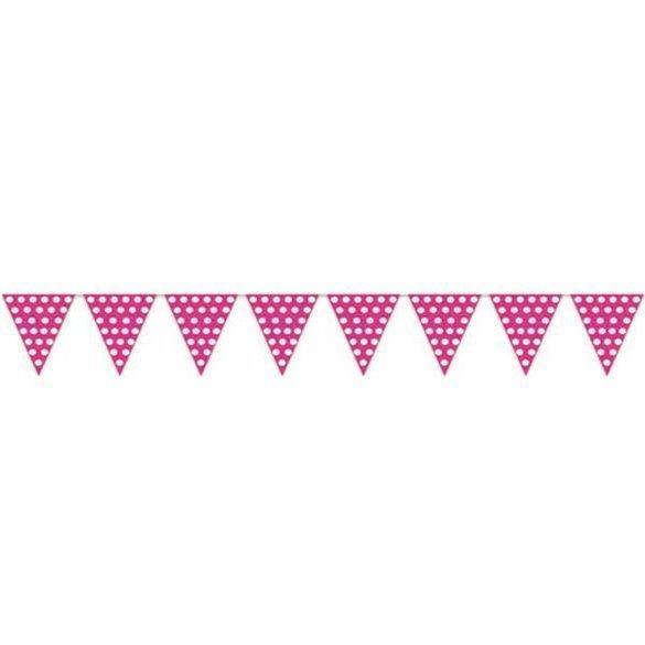Banderín Triangulo Plástico Color Rosa Lunar Blanco (5 Mts)