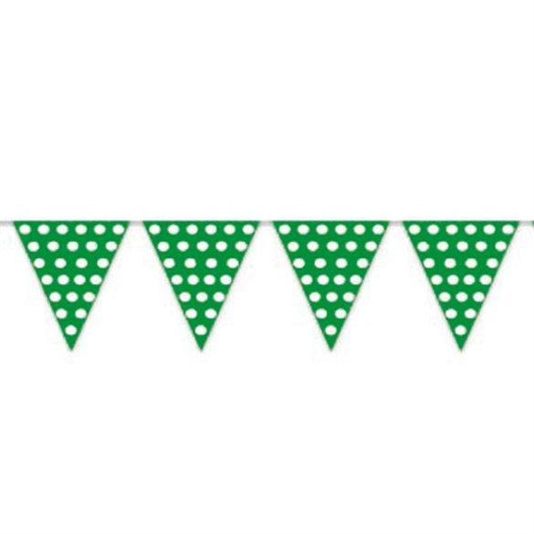 Banderín Triangulo Plástico Color Verde Lunar Blanco (5 Mts)