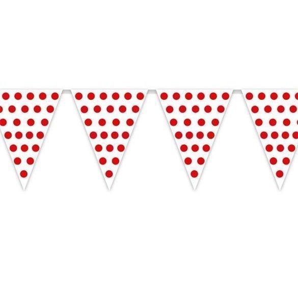 Banderín Triangulo Plástico Color Blanco Lunar Rojo (5 Mts)