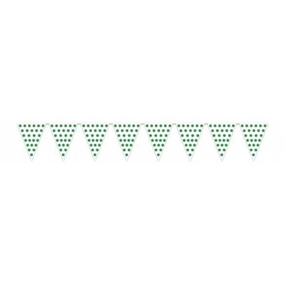 ✅Banderín Triangulo Plástico Color Blanco Lunar Verde (5 Mts) por solo 1,69€ en Masfiesta.es. Venta de Artículos de fiesta y...